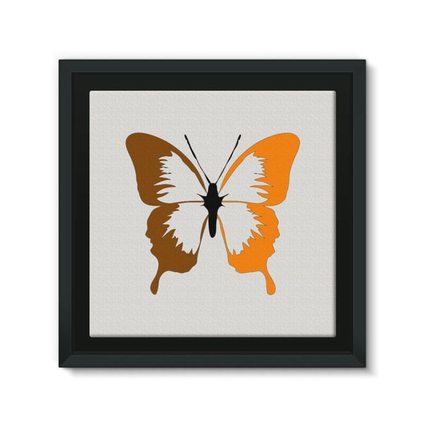 Brown Orange Butterfly Framed Canvas 12X12 Wall Decor