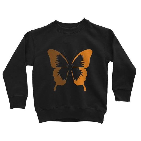 Brown Orange Butterfly Kids Sweatshirt 3-4 Years / Jet Black Apparel