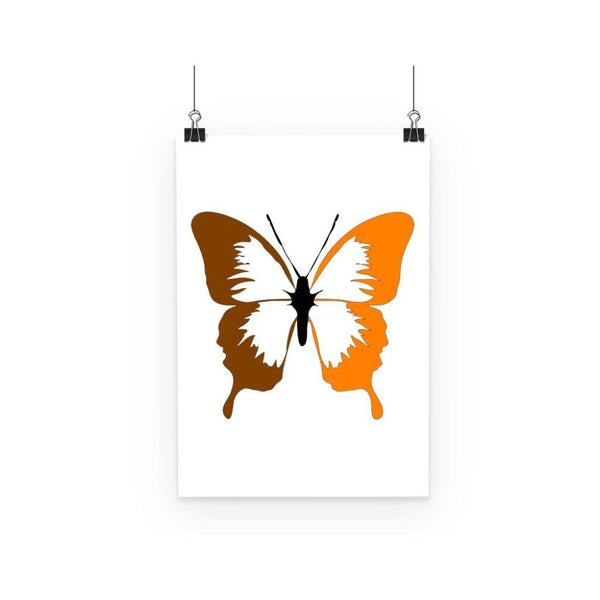 Brown Orange Butterfly Poster A3 Wall Decor