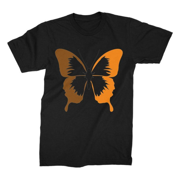 Brown Orange Butterfly Unisex Fine Jersey T-Shirt S / Black Apparel