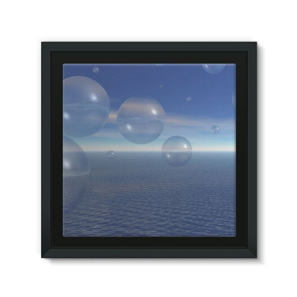 Bubbles With Fields Framed Canvas 12X12 Wall Decor