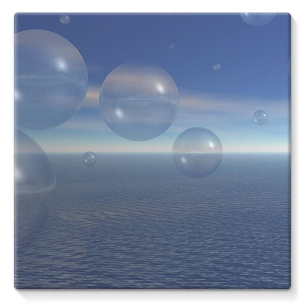 Bubbles With Fields Stretched Eco-Canvas 10X10 Wall Decor