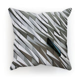 Building Wall Pattern Cushion Faux Suede / 18X18 Homeware