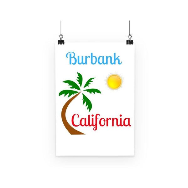 Burbank California Palm Sun Poster A3 Wall Decor
