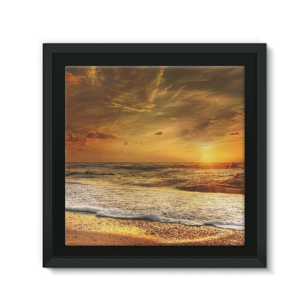 California Summer Beach Framed Canvas 12X12 Wall Decor