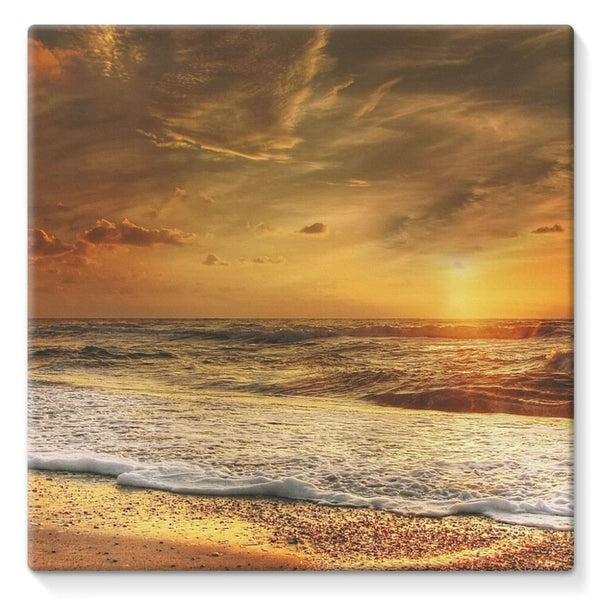 California Summer Beach Stretched Canvas 10X10 Wall Decor