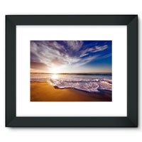 California Usa Sandy Coast Framed Fine Art Print 16X12 / Black Wall Decor