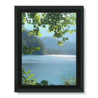 Calm Water Lake In Forests Framed Canvas 12X16 Wall Decor