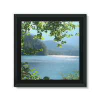 Calm Water Lake In Forests Framed Canvas 14X14 Wall Decor