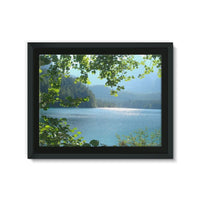 Calm Water Lake In Forests Framed Canvas 24X18 Wall Decor