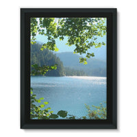 Calm Water Lake In Forests Framed Canvas 24X32 Wall Decor