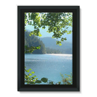 Calm Water Lake In Forests Framed Canvas 24X36 Wall Decor