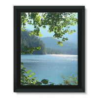 Calm Water Lake In Forests Framed Eco-Canvas 11X14 Wall Decor