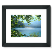 Calm Water Lake In Forests Framed Fine Art Print 16X12 / Black Wall Decor