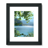 Calm Water Lake In Forests Framed Fine Art Print 18X24 / Black Wall Decor