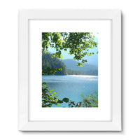 Calm Water Lake In Forests Framed Fine Art Print 18X24 / White Wall Decor