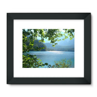 Calm Water Lake In Forests Framed Fine Art Print 24X18 / Black Wall Decor