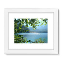 Calm Water Lake In Forests Framed Fine Art Print 24X18 / White Wall Decor