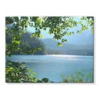 Calm Water Lake In Forests Stretched Canvas 32X24 Wall Decor
