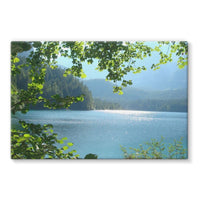 Calm Water Lake In Forests Stretched Canvas 36X24 Wall Decor