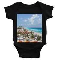 Cancun City On Beachside Baby Bodysuit 0-3 Months / Black Apparel