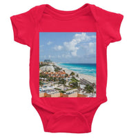 Cancun City On Beachside Baby Bodysuit 0-3 Months / Red Apparel
