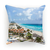 Cancun City On Beachside Cushion Linen / 18X18 Homeware