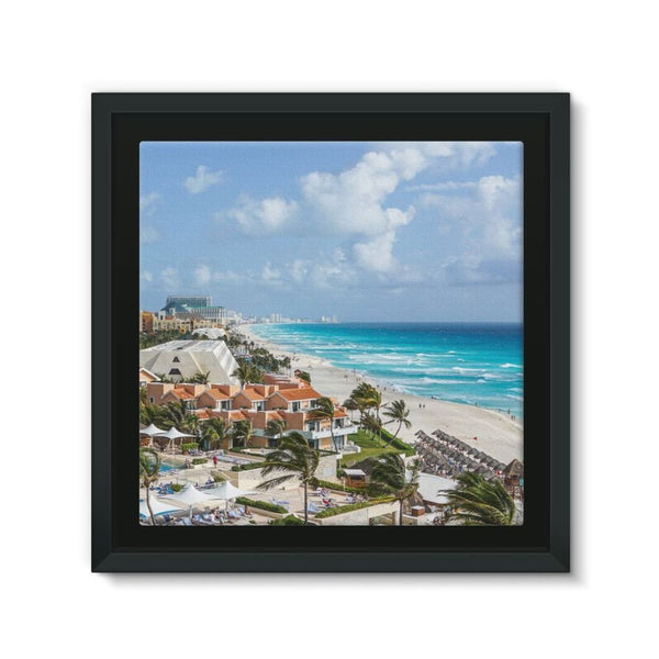 Cancun City On Beachside Framed Canvas 12X12 Wall Decor