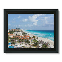 Cancun City On Beachside Framed Canvas 16X12 Wall Decor