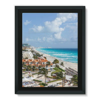 Cancun City On Beachside Framed Eco-Canvas 18X24 Wall Decor