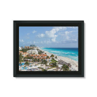 Cancun City On Beachside Framed Eco-Canvas 24X18 Wall Decor