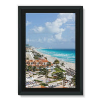 Cancun City On Beachside Framed Eco-Canvas 24X36 Wall Decor