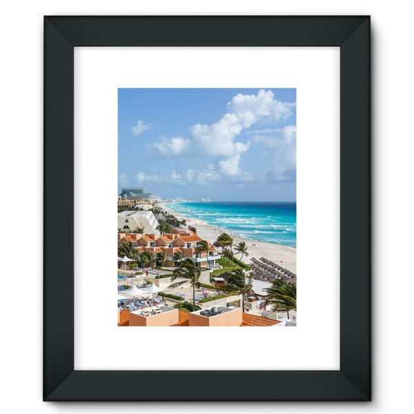 Cancun City On Beachside Framed Fine Art Print 12X16 / Black Wall Decor