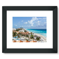 Cancun City On Beachside Framed Fine Art Print 16X12 / Black Wall Decor
