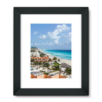 Cancun City On Beachside Framed Fine Art Print 18X24 / Black Wall Decor