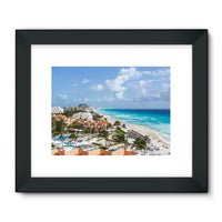 Cancun City On Beachside Framed Fine Art Print 24X18 / Black Wall Decor