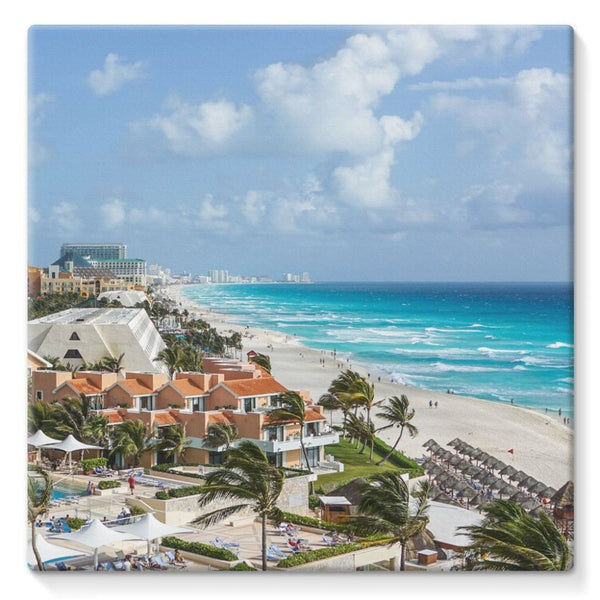 Cancun City On Beachside Stretched Eco-Canvas 10X10 Wall Decor