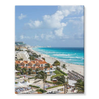 Cancun City On Beachside Stretched Eco-Canvas 11X14 Wall Decor