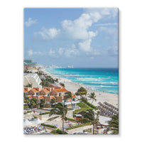Cancun City On Beachside Stretched Eco-Canvas 18X24 Wall Decor