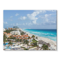 Cancun City On Beachside Stretched Eco-Canvas 24X18 Wall Decor