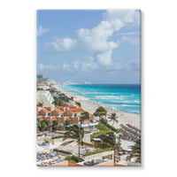 Cancun City On Beachside Stretched Eco-Canvas 24X36 Wall Decor