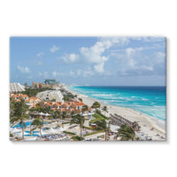 Cancun City On Beachside Stretched Eco-Canvas 36X24 Wall Decor