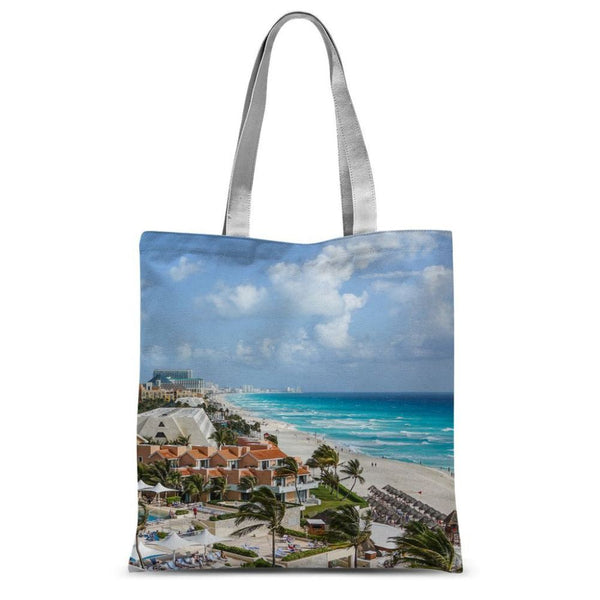Cancun City On Beachside Sublimation Tote Bag 15X16.5 Accessories