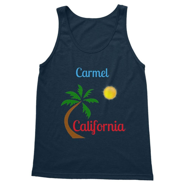 Carmel California Palm Sun Softstyle Tank Top S / Navy Apparel