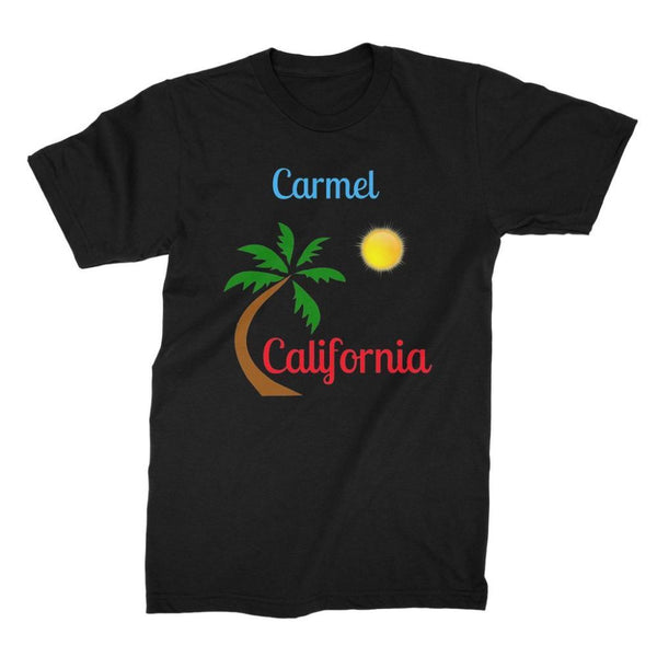 Carmel California Palm Sun Unisex Fine Jersey T-Shirt S / Black Apparel