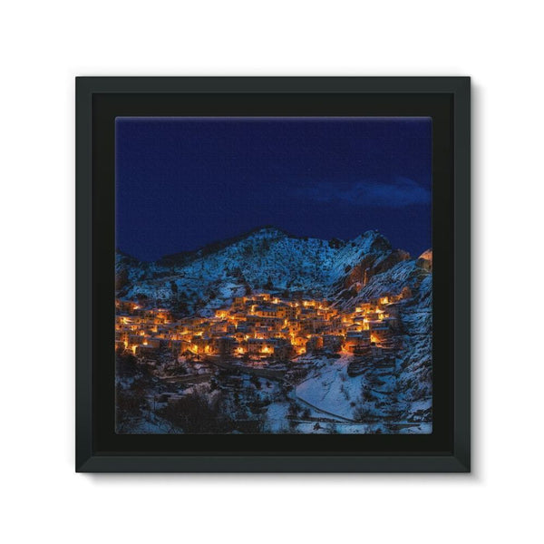 Castelmezzano Town Framed Eco-Canvas 10X10 Wall Decor