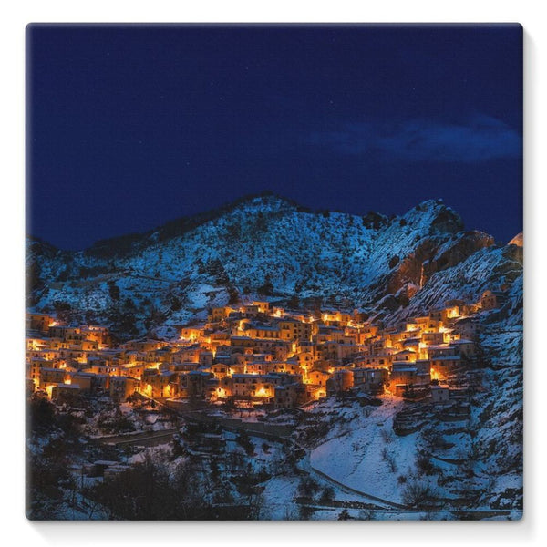 Castelmezzano Town Stretched Eco-Canvas 10X10 Wall Decor