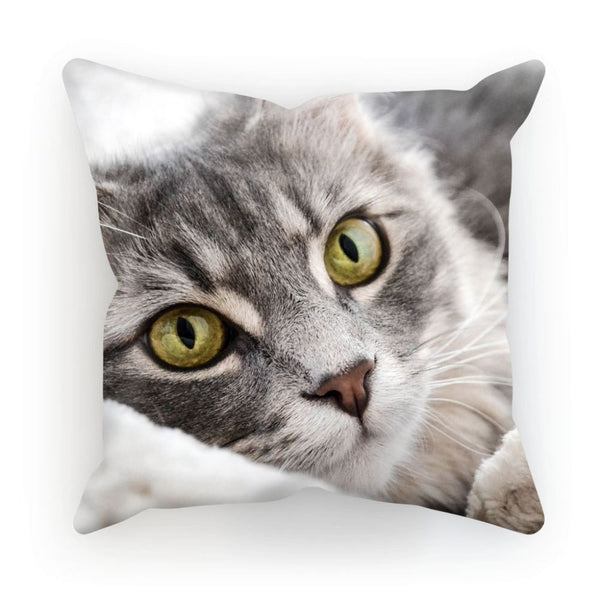 Cat Lying With Eyes Open Cushion Linen / 12X12 Homeware