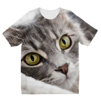 Cat Lying With Eyes Open Kids Sublimation T-Shirt 3-4 Years Apparel