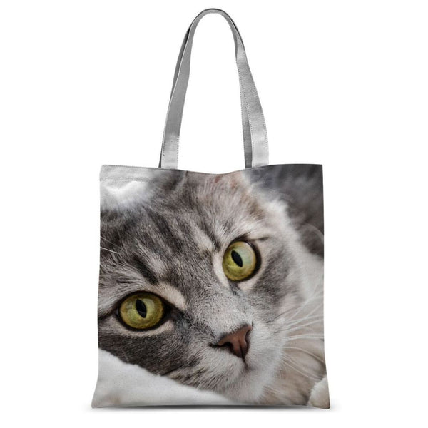 Cat Lying With Eyes Open Sublimation Tote Bag 15X16.5 Accessories